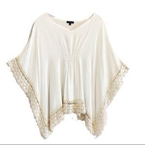 K & C Ivory Bohemian Poncho Style Crochet Top